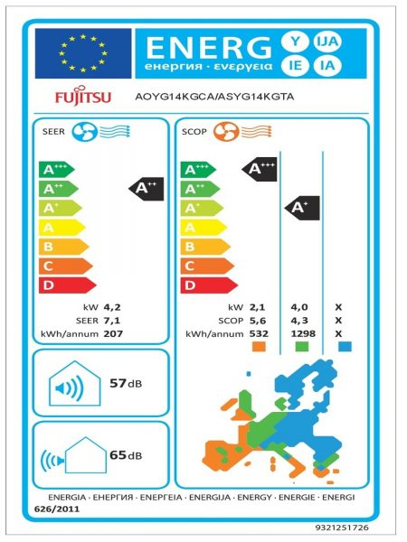 Fujitsu Κλιματιστικό Τοίχου KGTA/KGTB 14kBTU 3